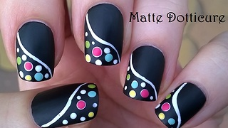 Black Matte Nail Art With Colorful Dot Design