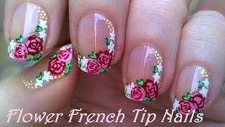 Floral side French manicure using acrylic paint - Video