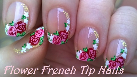 Floral side French manicure using acrylic paint