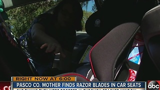 Razor blades dropped into children's car seats in Walmart parking lot - Video