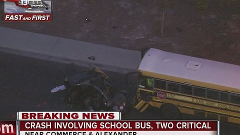 2 critical after crash involving school bus in North Las Vegas