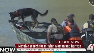 Massive search for missing woman and her son - Video