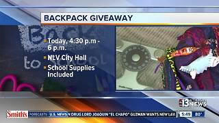 Backpack giveaway happening today - Video