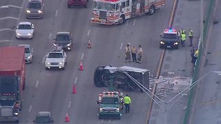 Flipped vehicle on I-95 NB in Boca Raton causes backups in Broward County - Video