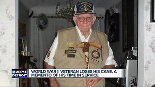 World War II veteran loses his cane, a momento of his time in service