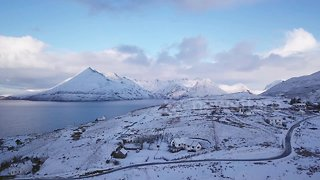 Drone camera captures fresh snow on the scenic Isle of Skye