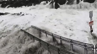 Huge Waves Flood Shore in Westport as Coastal Warning Issued - Video