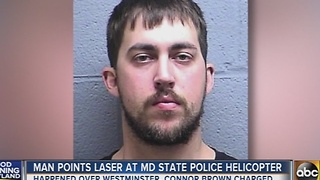 Man points laser at Maryland State Police helicopter - Video