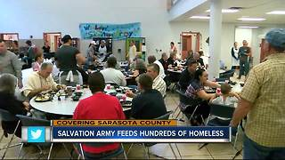 Salvation Army feeds more than a thousand homeless people for Thanksgiving - Video