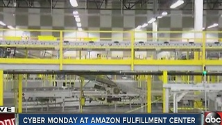 Amazon fulfillment center bustling on Cyber Monday