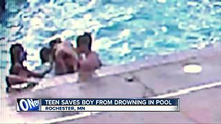 Teen saves friend from drowning in swimming pool - Video