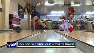 Local bowler celebrating win at national tournament