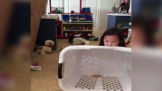 Funny Tot Girl Makes A Trap For Her Little Brother