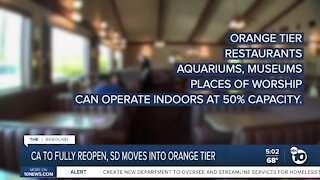 San Diego to move into orange reopening tier