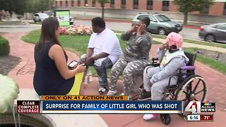 Family of girl shot in head surprised with van - Video
