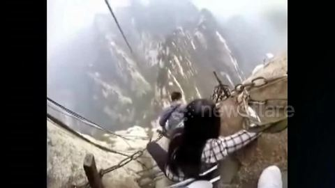 Hikers take on world's most dangerous footpath