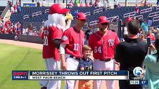 Tommy Morrissey Throws Out First Pitch - Video