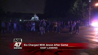 Six charged with arson after Michigan-Michigan State game - Video