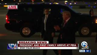 President Trump, Melania, son Barron arrive at PBIA for Thanksgiving