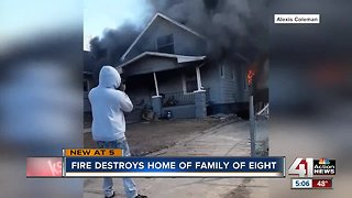 Fire destroys home of family of eight
