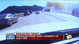 Driver records early moments of the Lilac Fire - Video