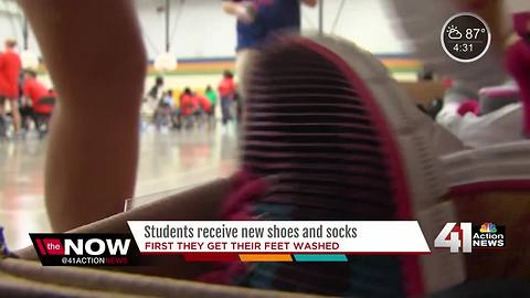 400 KCPS students get feet washed along with new shoes, socks