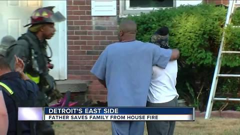 Man rescues wife, daughter from fire at Detroit home