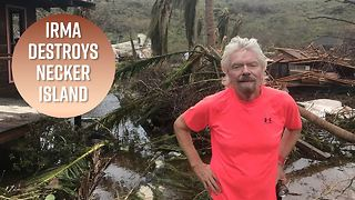 Richard Branson hides in cellar during Hurricane Irma - Video