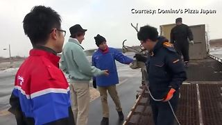 Reindeers in Japan audition for pizza delivery job