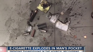 E-cigarette explodes in man's pocket - Video
