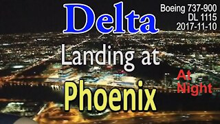 Delta flight landing at Phoenix at night in Boeing 737-900 @PHXSkyHarbor