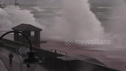 Savage seas and storm-force gales hit UK fishing village