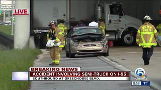 Semi crash on I-95 southbound in West Palm Beach - Video