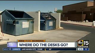 Desks found in dumpster in front of Ahwatukee school - Video