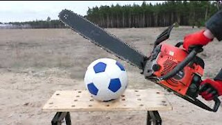 Experience: electric chainsaw on several things / football.