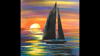 Paint and sip Tutorial for Beginners -- sunset sailboat with acrylic.