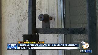 Burglar defeats window bar, ransacks apartment - Video
