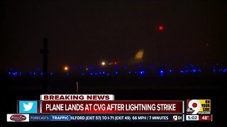 DHL cargo plane lands at CVG after being struck by lightning