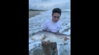 Nick Catches a Monster Red Fish at the Sebastian Inlet