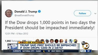 Trump called for impeachment when Dow dropped?