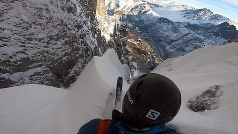 Determined Skier Becomes The First Person To Ski Down Europe's Largest Vertical Rock Face In Heart-stopping Footage
