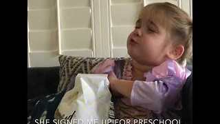 Two-Year-Old Has Strong Words About Her First Day at Preschool - Video