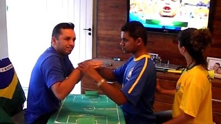 Friends help deaf-blind man experience World Cup match - Video