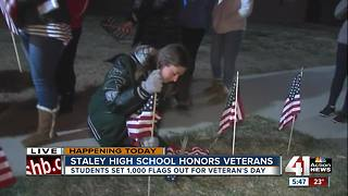 Staley High students set up American flag welcome for Veterans Day assembly - Video