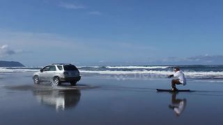 Skier takes skis to beach, invents new sport - Video