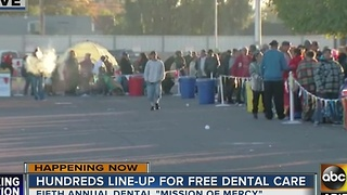 Hundreds line-up for free dental care in the Valley - Video