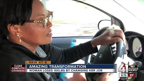 Creative delivery driver in KCK sheds 100 pounds with her at work, work-out