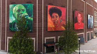 Little Caesars Arena pays tribute to Gordie Howe, Joe Louis, Detroit icons in murals - Video