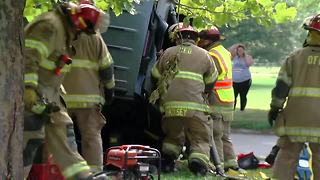 First-responders extricate crash victims near Kroc Center - Video