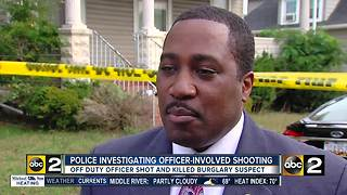 Off-duty officer shoots and kills burglar, police investigating - Video